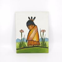 Vintage Native American Child Signed Jenkins Unframed Painting 16x20