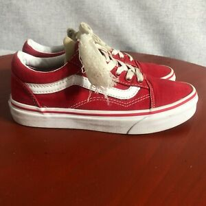 Vans Authentic OTW Youth Kids Size 3 Shoes Red White Low Top Skater Sneakers