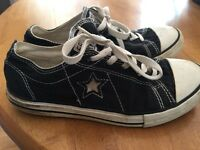 CONVERSE ONE STAR Black & White Athletic Sneakers Womens Girls Shoes Size 5 ~