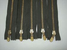 "5 - 6"" Brown- Olive- Off White- Red- Navy #5 YKK Closed End Metal Teeth Zippers"