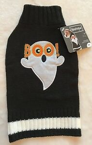 BOO Ghost Dog Sweater - XS - Halloween - Black - Embroidered - Bootique - NWT