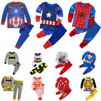 Toddler Baby Kids Boys Girls T-shirt Pants Tracksuit Set Superhero Sleepwear pjs