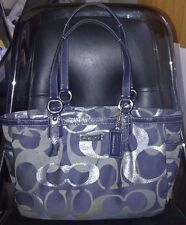 AUTH COACH GALLERY SIGNATURE OPTIC METALLIC TOTE BAG PURSE F19664 NAVY $298-RARE