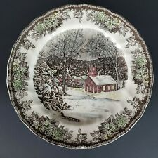 """JOHNSON BROTHERS Friendly Village """"The School House"""" Dinner Plates Set of 4"""