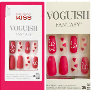 Kiss Voguish Coffin Long Length Red Valentine's Day Nails