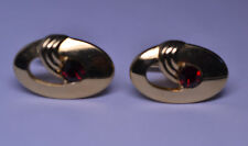 VINTAGE 1950s GOLD PLATED ART DECO STYLE CUFFLINKS WITH RED RHINESTONE
