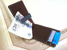 Brown Faux Leather Mens Slim Money Magic Wallet Clip Cash Credit ID Card Holder
