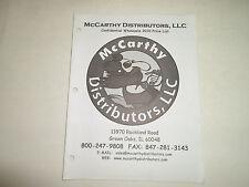 2010 McCarthy Distributors LLC Confidential Wholesale Price List Manual FACTORY