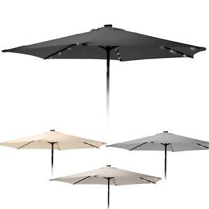 Outdoor Metal Hanging Garden Patio Sun Shade Parasol Umbrella With Solar Lights