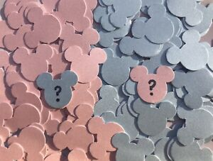 Mickey Mouse Confetti / Table Decorations. GENDER REVEAL, baby pink+blue (pearl)