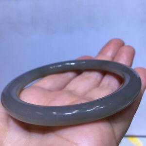 Natural Nephrite Smoke Gray Jadeite Jade Gemstone Bangle Inner Diameter 61 mm