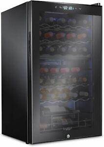 Ivation 33 Bottle Dual Zone Wine Cooler Refrigerator w/Lock | Large Freestanding