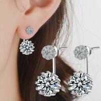 Women's Fashion 925 Sterling Silver Cushion Dazzling Zircon Stud Drop Earrings