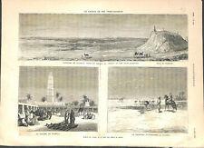Chemin de fer trans-saharien marché ouargla desert Sahara autruches GRAVURE 1879