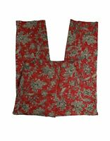 Talbots Women's Size 10 Flat Front Red Floral Pants