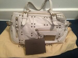 Limited Edition Louis Vuitton Lambskin Leather Riveting Bag White Retail:$3,300