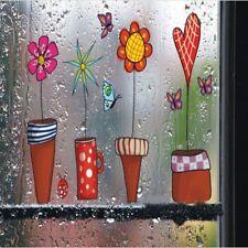 Cartoon Flower Butterfly Wall Stickers DIY Decal Glass Window Wall Home Decor