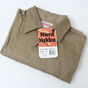 Vintage Hard Yakka Drill Button Short Sleeve Work Australia Shirt Medium Khaki