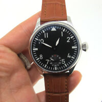 44mm Parnis Hand Winding Men's Mechanical Watch Small Second Brown Leather Strap