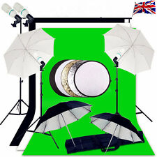 UK Photo Studio Background Support Lighting Kit 3 Backdrops Umbrella continuous