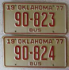 Oklahoma 1977 CONSECUTIVE NUMBER BUS License Plates NICE QUALITY 90-823 & 90-824