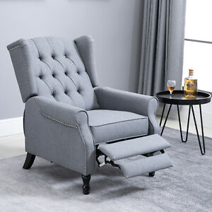 HOMCOM Vintage Reclining Sofa Armchair Single Couch Home Cinema Chair Grey