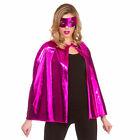 Pink Superheor Cape + Mask Set Metallic Adults Fancy Dress