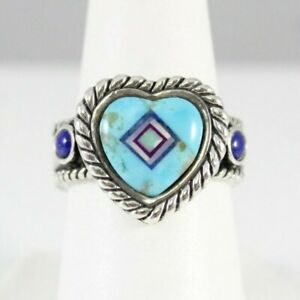 925 (R Relios Carolyn Pollack Sz 8 Turquoise Heart Shape Center Ring