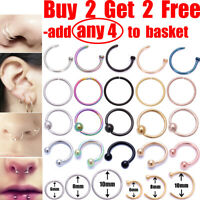 Nose Ring Nose Lip Rings Ear Helix Tragus Piercing Ring Surgical Steel Nose Ring
