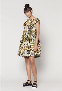Gorman X Claire Johnson Papercut Camo Beach Dress Size 6 XS Cotton VGUC