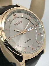 Seiko Recraft Mens Grey Dial Day/Date Brown Leather Strap Automatic Watch SNKN72