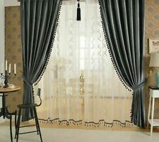 European Velvet Curtains For Living Room Solid Color Luxury For Home Decorations