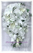 FULL WEDDING SET White Roses Calla Lilies Silk Wedding Flowers Bridal Bouquets