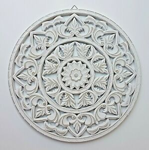 Wandornament weiß shabby Ornament Wanddeko Holzbild Holzornament Ø 35 oder 45 cm