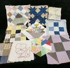 New listing 10 Vintage Antique Quilt Blocks Cotton Fabric Hand Pieced Victorian Era Mix Lot