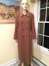 CINZIA ROCCA/SAKS 100% Wool Camel Brown Double-Breasted Long Coat SIZE 10/Large