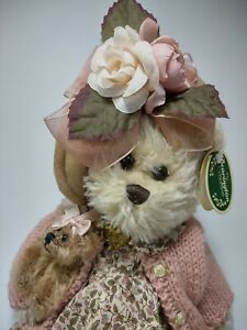 """The Bearington Collection Plush Bear With Pink Sweater Daisy and Belle 14"""""""