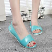 Womens Open toe Slingback Shoes Jelly Mary Janes Flats Summer Sandals Breathable