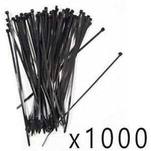 """1000 Pack Lot Pcs - 8"""" Inch UV Resistant Nylon Cable Zip Wire Tie 40 lbs - Black"""