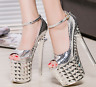 Women's Sexy Super High Platform Peep Toe Party High Heels Ankle Buckle Shoes