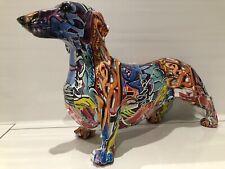 More details for large graffiti art standing daschund ornament dog figurine gift present '40cm'
