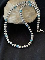 Native Amer Navajo Pearls Sterling Silver Blue TURQUOISE Bead Necklace 19in 227
