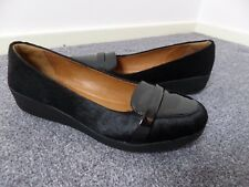 FAB FITFLOP F POP LOAFER IN BLACK PATENT AND FAUX PONY HAIR SIZE UK 6 EX CON