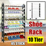 Stainless Steel 10 Tier 50 Pair Shoe Tower Rack Organizer Space Saving Shoe Rack