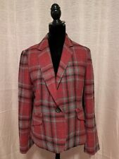 Talbots Women's Size 12P Red Black Plaid Wool Blend Lined One Button Blazer