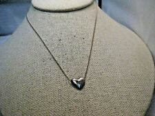 """Vintage Puffy Heart Slide Necklace, 15"""", 1980's, Silver Tone"""