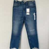 Zara NWT Jeans Size 38 The HW Bootcut Cropped Vintage Blue