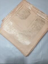 "Vtg 50s Cotton Rayon 15""sq Rose Detail Damask Napkins Peach Set 8 Never Used"