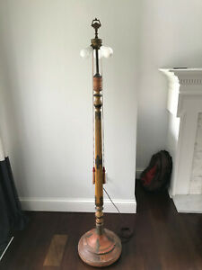 Antique 1920's Wood Hand Painted Asian Chinoiserie Floor Lamp Long Tassel Cords