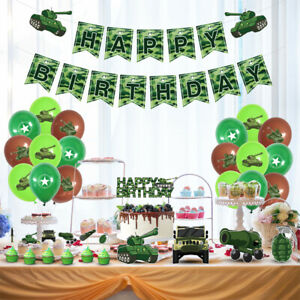 Military Camouflage Theme Balloons Banner Ornaments Birthday Party Decoration